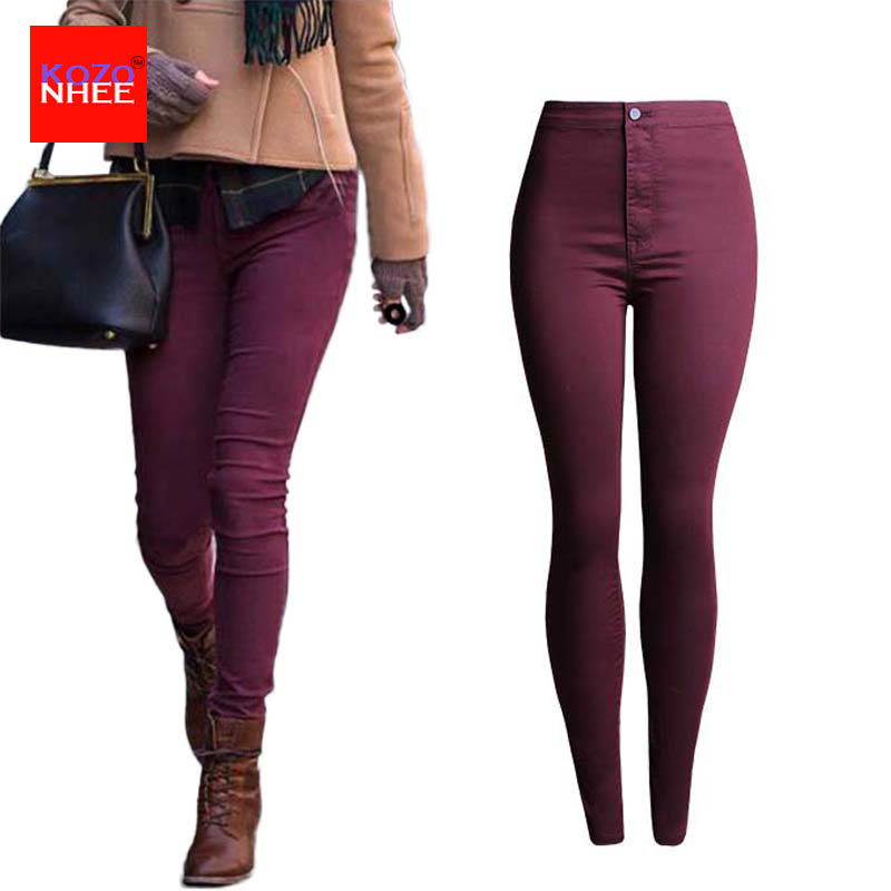 Thin candy Colour stretching Skinny High Waist Jeans Women Elastic Push Up Pencil Jeans Trousers For Women Jeans For GirlsОдежда и ак�е��уары<br><br><br>Aliexpress