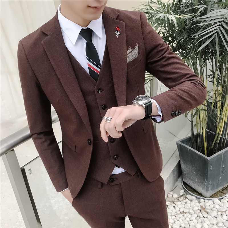 ( Jacket + Vest + Pants ) Male High-end Fashion Brand Pure Groom Wedding Wedding Suits Men's Casual Business Three-piece Suits