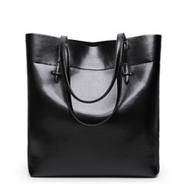 Women Handbag Genuine Leather Shoulder Bag Female Bags Cowhide portable shopping Vintage Large Capacity Tote Ms Bolsos black