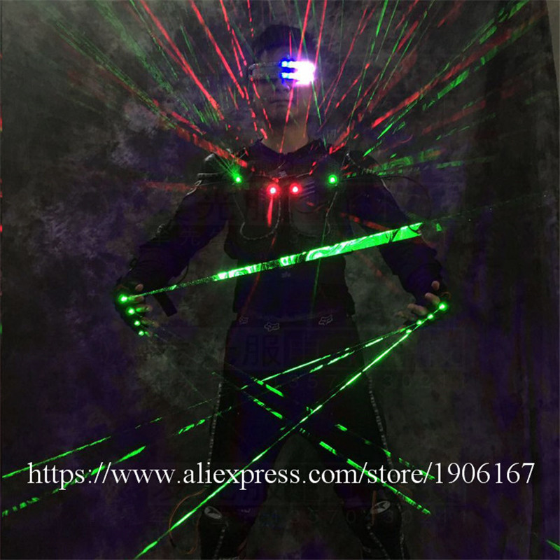 Ballroom dance led costumes luminous robot suit men led glasses green laser cloth dancer dj stage show wears laser gloves06