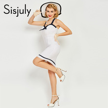 Buy Sisjuly women vintage bodycon dress sexy nautical style 1950s 50s summer white dress pencil sheath club bowknot bodycon dresses for $10.84 in AliExpress store