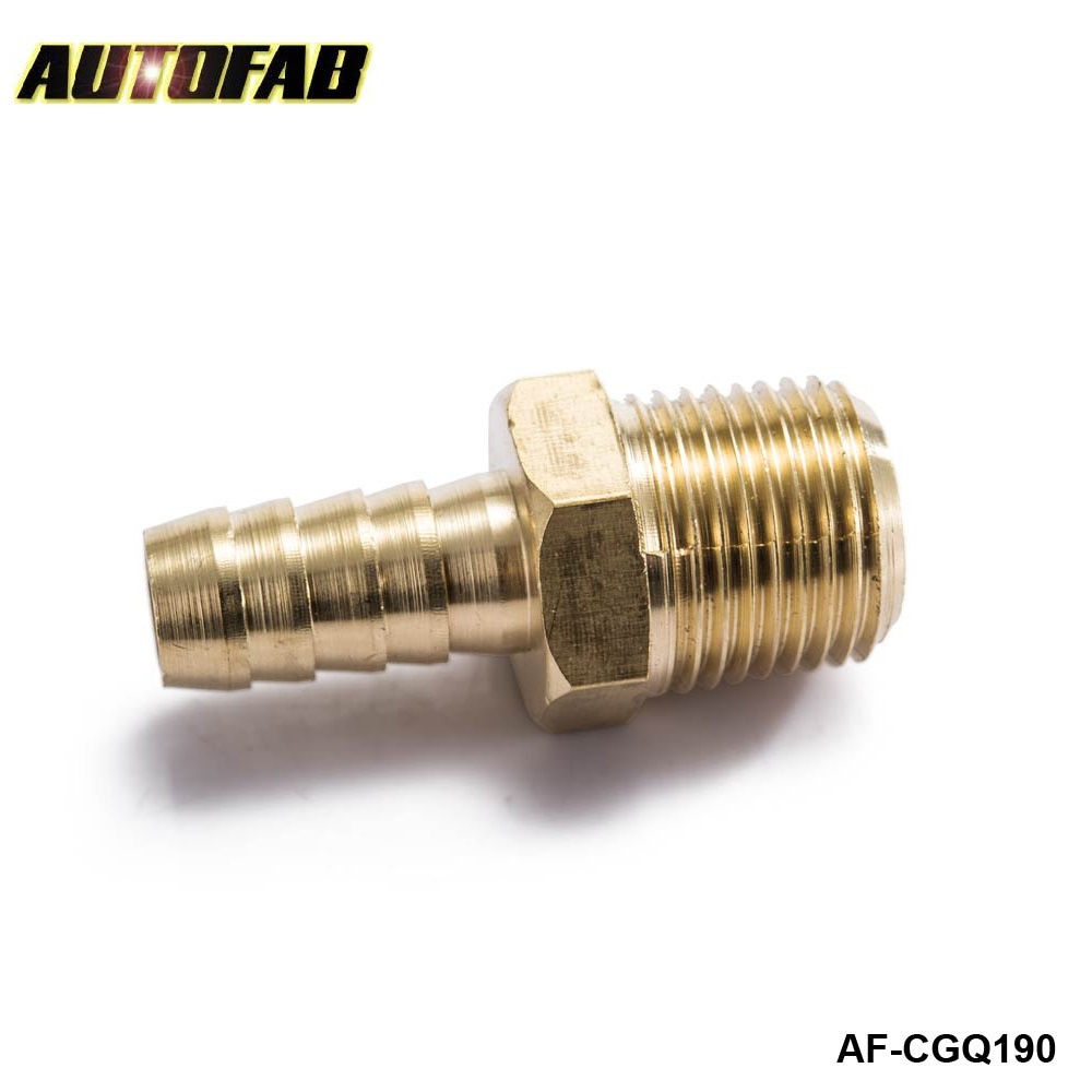 "AUTOFAB - Male Straight Barb 1/2 HOSE ID 1/2"" NPT Male Brass Fitting For Fuel pump/Oil cooler For Honda Civic AF-CGQ190"