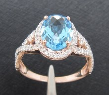 Top Sales 2.38CT 14K Rose Gold Blue Topza & Diamond ring, Wholesaler Jewelry, 14k Gold Ring