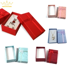 Wholesale Assorted Colors Jewelry Sets Display Box Necklace Earrings Ring Box 5*8*2.5cm Packaging Gift Box mixed Free Shipping(China)
