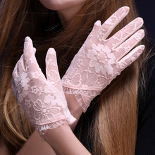 Anti-uv spring and summer womens sunscreen short lace gloves fashion white Jacquard Pattern Female driving gloves pink Q1