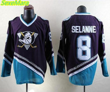 SexeMara Cheap Men's New Mighty Ducks Movie Jersey #8 SELANNE Ice Hockey Jersey Purple Color Best Quality free shipping