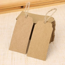 100pcs Kraft Paper Tags rectantular Shape Label Luggage Wedding Event Note Wish Greeting Card Price Craft Gift Message Hang Tag