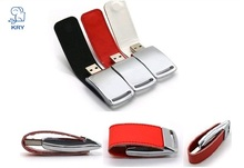KRY portable business leather flash disk memory stick USB2.0 high-speed flash drive 4GB 8GB 16GB 32GB 64GB key chain U disk(China)