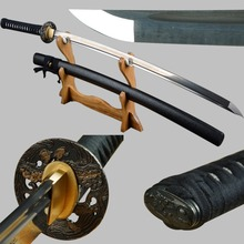 Shijian Swords Long Handmade Japanese Samurai Katana Sharp Full Tang Damascus Folded Steel Tameshigiri Practice Aikido Iaido(China)