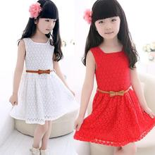 2017 Summer New Lace Girl Dress Sleeveless Flower Children's Princess Dress Kids Party Clothes for Girls Red White