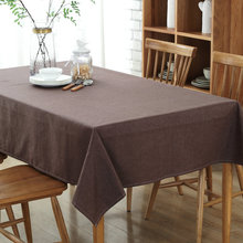 Solid Color Tea Coffee Table Cloth Dustproof Wedding Party Banquet Decoration Table Cover Cotton Linen Rectangular Tablecloth(China)