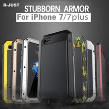 R-JUST Shockproof Aluminum Metal Military Heavy Duty Armor Bumper Cover Case for Apple iPhone 8 8 Plus 7 7 Plus+Gorilla Glass(China)