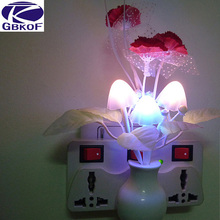 EU US plug Romantic Colorful Dream flower Night Light Sensor Control Bed LED Light Potting Lamp for Home Bedroom Decoration