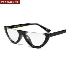 13649bb125 Peekaboo black vintage cat eye glasses frame clear fashion flat top  transparent eyeglasses small frame women female