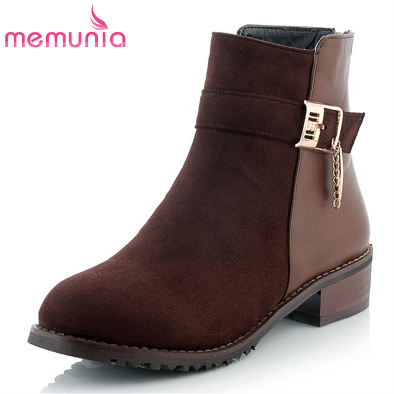 MEMUNIA platform flock buckle after the zipper mixed colors fashion ankle boots novelty winter restoring leisure women boots<br><br>Aliexpress