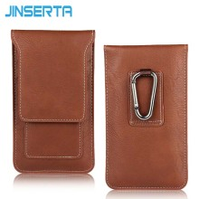 JINSERTA Universal Multifunctional Leather Phone Bag Card Slot Hook Waist Belt Bag Case for Cell Phone Under 5.5 inch Portable(China)