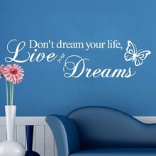 Live Your Dreams Wallstickers Butterflies Wall Murals Living Room Decorative Home Decor DIY Vinyl Sticker(China)
