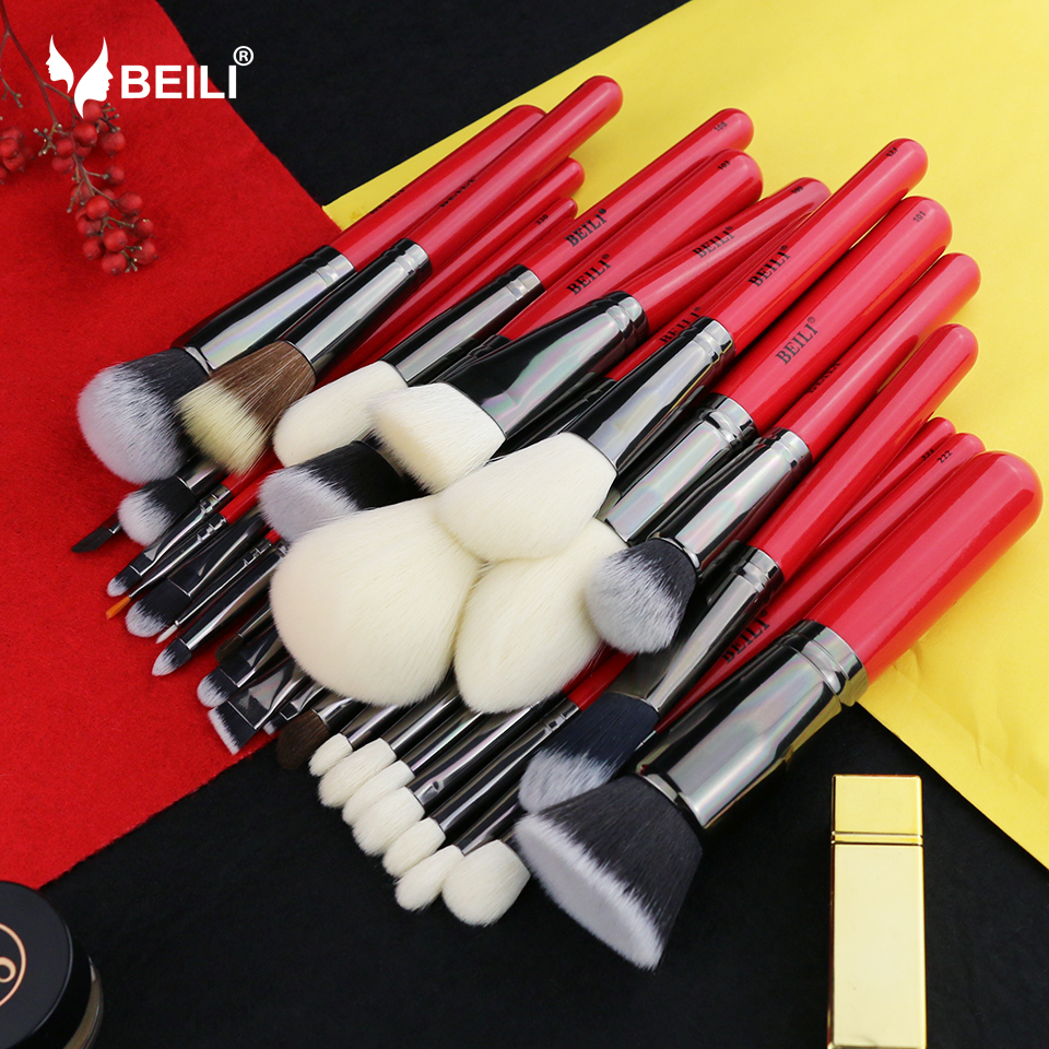 BEILI 30pcs Goat Pony Hair Synthetic Powder Foundation Blusher Eyeshadow Eyebrow Eyeliner Concealer Pro Makeup Brush Set <br>
