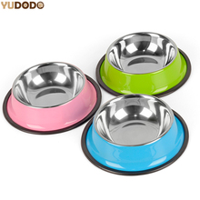 Stainless Steel Pet Bowls for Dog 3 Colors Puppy Cats Food Water Feeder Pets Supplies Feeding Dishes Dogs Bowl S/M/L(China)