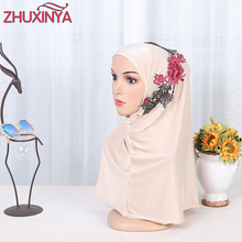 2017 Appliques Hijab 60CM Scarf Mercerized Soft long Elastic Muslim Scarves Fashion Wrap Muslim Hijabs For Women(China)