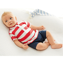 2017 Summer Baby Boy Rompers Newborn Stripe Short Sleeved Cotton Clothes One Piece Infant Jumpsuits Baby Boys Polo Clothing Sets(China)