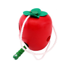 Baby Toys Wooden Stringing Beaded Line Wearing Rope Toys Insect Eating Apple Fruit Wooden Early Educational Toy YH-17(China)
