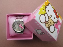 Hello Kitty watches girl KT cat steel band six diamond children watch free shipping in box 1pcs/lot