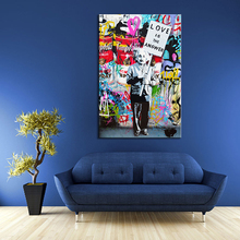 1 PCS Banksy Art Love Is The Answer Wall Art Graffiti Einstein Holding a Sign Colorful Canvas Printings for Living Room Decor