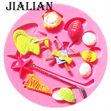 Sport Series baseball softball golf hats chocolate Party DIY fondant cake decorating tools silicone mold T0096(China)