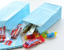 Free Shipping 200pcs Blue Polka Dot Paper Bags with Sticker Birthday Party Favor Bags Gift Bags Boy Baby Shower  Mix 7 Colors
