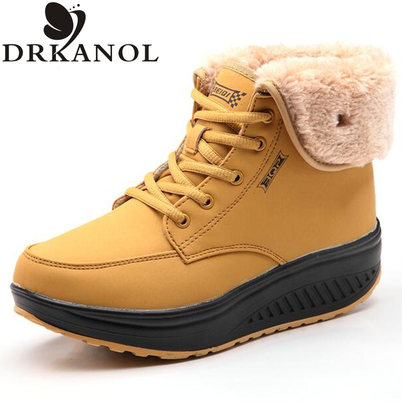 New women snow boots waterproof platforms fur women boots winter warm shoes wedge ankle boots lace up swing shoes size 35-40<br><br>Aliexpress