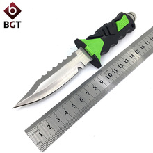 BGT Tactical Leggings Diver's Fixed Knife 440 Blade Outdoor Combat Survival Rescue Knives Hunting Camping EDC Tool Rubber Handle(China)