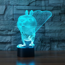 Squirrel 3D LED Lampe Lighting Touch 7 Color Switch Luminaria Desk Lava Lamp for Child Acrylic bedroom Decor Gift USB LED lamp