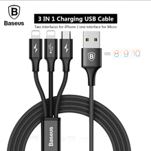 Baseus 3in1 USB Charger Cable For iPhone 5 6 7 Android Micro USB Cable For Samsung Xiaomi Meizu Mobile Phone USB Data Cable(China)