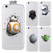 UVR For iPhone 5 5s 6 6s 7 Plus Star Wars The Force Awakens BB-8 Droid Robot SOFT TPU case Transparent cover