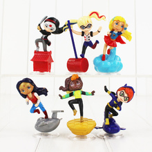 6pcs/lot Super Heroes Girls Wonder Woman Poison Ivy Harley Quinn Bumble Bee PVC Figure Toy