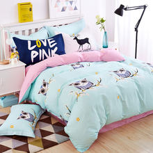 Blue owl girls/boys bedding set bright color fish horse music car bed linen kids duvet cover sets twin full queen king size(China)