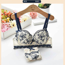 Summer thin section Japanese cute student underwear suit female summer sweet little girl small bra gathers bra set 6810 #