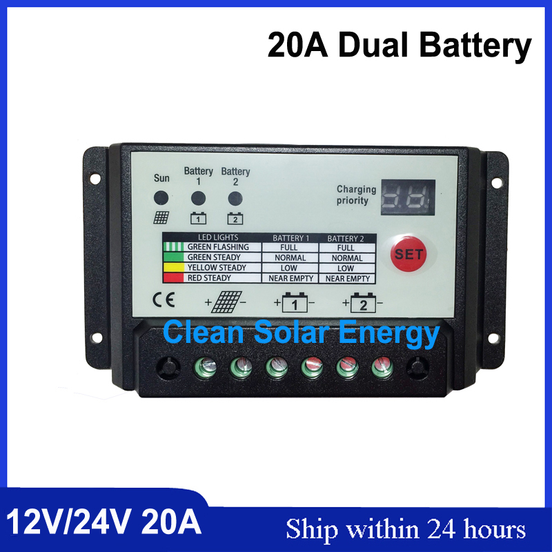 Free Shipping 20A Dual battery solar controller Voltage settable 12/24V auto work controle remoto for RV Boats Bus controller<br>