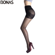 Buy BONAS 3pcs 15D Cheap Tights Summer Style Solid Sexy Slim Nylon Pantyhose Girl Fashion Tights Lady Spandex High Elasticity Waist