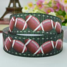 "Football turf sports ribbed with hair accessories bow materials 22mm print grosgrain ribbon 7/8"" clothing accessories customized"