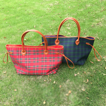 On Sale Wholesale Blanks Plaid Large Tote Bag Canvas Casual Tote Shopping Bag with Large Capacity DOM103377