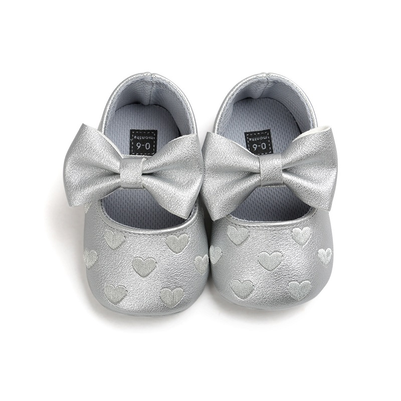 2018 Cute Heart Print Embroidery Baby First Walkers Shoes Bowknot Infant Toddler Kids Learn to Walk Children Soft Sole Prewalker