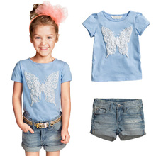 Bear Leader  Hot  2016 New casual dress cartoon sky blue T-shirt +jeans girls clothing sets children clothing girls clothes