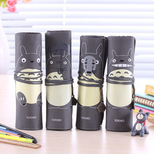 Black School Pu Leather Roll Cartoon Pen Pencil Case Totoro Kawaii Cute Pencil Pouch Stationery Storage Organizer Supply