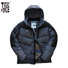 TIGER FORCE Brand Men Down Jacket 70%White Duck Down Winter Warm Down Coat Zipper Patchwork Rib Cuff European Free Shipping D473