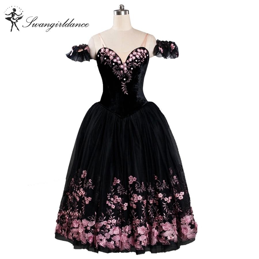 Women Black Lyrical Professional Ballet Stage Long Dress Skirt Girls Performance Compeition Costume BT9114