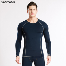 GANYANR Running T Shirt Men Long Sleeve Tennis Basketball Jogging Compression Sportswear Tee Sport Fitness Tops Exercise Tights(China)