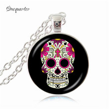 New 2017 fashion skull necklace distilled poison symbol pendant picture letter pendant necklaces glass dome necklace women gifts