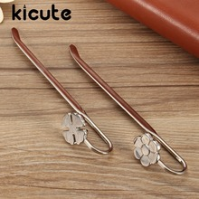 Kicute Elegant Delicate Beautiful Floral Clover Metal Bookmark Paper Book Marks Books Holder School Office Supplies